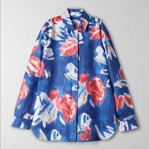 Aritzia Babaton Tahoma Linen Shirt Blue Red